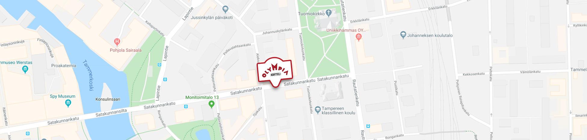 Olympia-korttelin sijainti kartalla